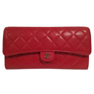 Chanel Caviar Quilted Travel Clutch Wallet in Red