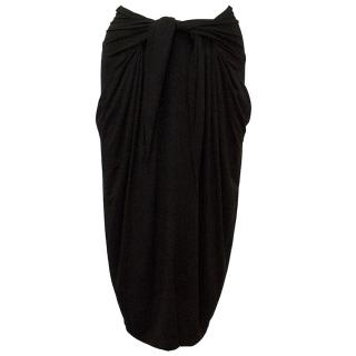 Donna Karan Black draped skirt with waist-tie