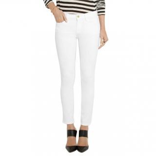 Frame Denim white stretch denim Le Skinny de Jeanne Crop jeans
