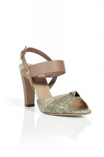 Valentino Beige Python Sandal with Big Stud
