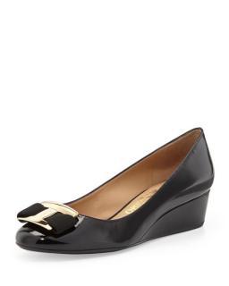 Salvatore Ferragamo 'Ninna' Patent Leather Bow Wedges