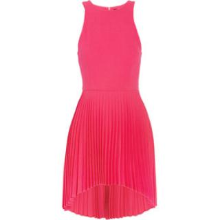 Christopher Kane Pleated neon pink silk dress