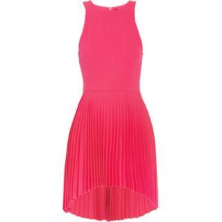 Christopher Kane Pleated neon pink silk dress