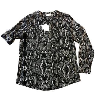 Calvin Klein Button Down Black And White Animal Snake Print Blouse
