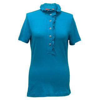 Tory BUrch Blue ruffled collar t-shirt