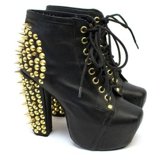 Jeffrey Campbell Black boots with gold spiked studs