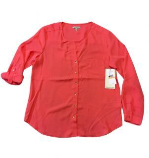 Calvin Klein Women's Coral Orange Pink Button Down Split Neck Blouse,S
