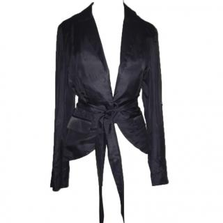 Malene Birger silk tux jacket with tie belt