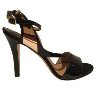 Salvatore Ferragamo Patent Babsy Ankle Strap Heels