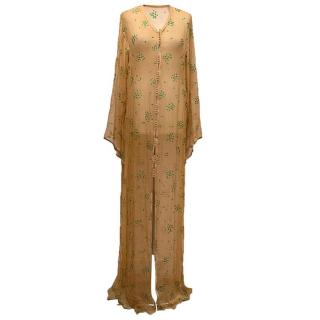 Tan luxury kaftan with green silicone applique