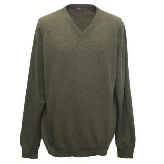 Asprey men's green cashmere jumper
