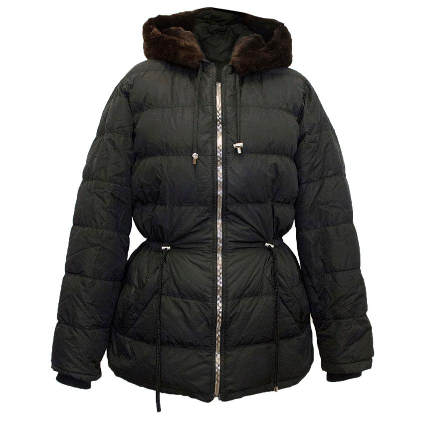 Prada black puffa jacket with beaver hood