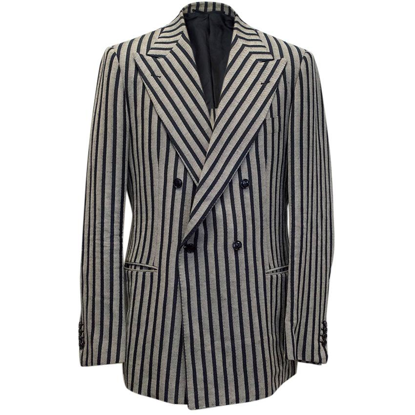Massimo Piombo navy and grey striped blazer