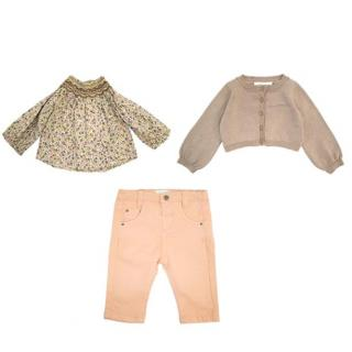 Marie Chantal girl's three piece brown and pink set