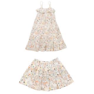 Marie Chantal Paisley dress and paisley skirt