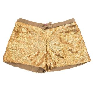 Marie Chantal gold sequin shorts