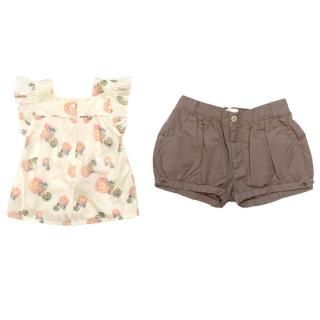 Marie Chantal cream floral top and taupe shorts