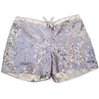 Marie Chantal silver sequin shorts