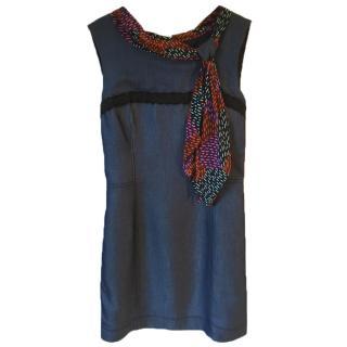 Z SPOKE ZAC POSEN cotton soft denim dress w silk collar