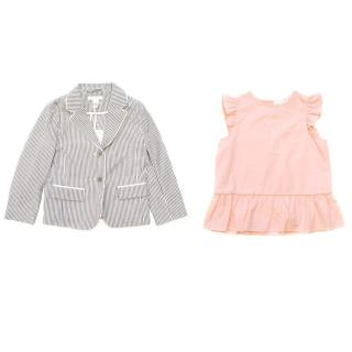 Marie Chantal Pinstripe blazer and pink peplum tunic