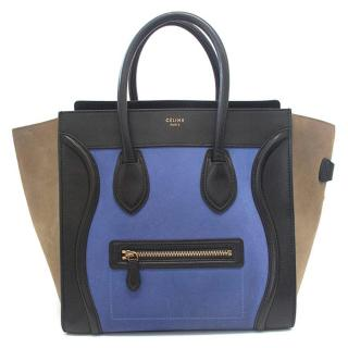 Celine suede colbat blue and taupe luggage tote