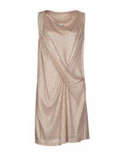 Vanessa Bruno pink metallic gathered front sleeveless dress