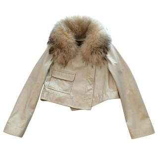bcbg max azria leather jacket with fur collar