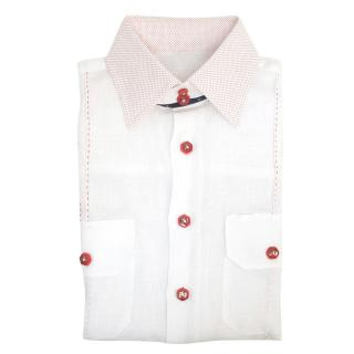 Angelo Galasso mens white linen shirt w/ patterned colla