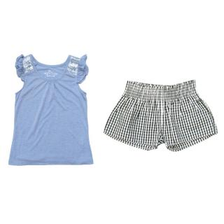 Marie Chantal gingham shorts and blue tunic