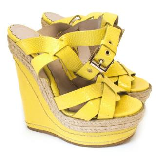 Mulberry patent yellow wedges with rope detail