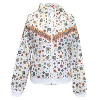 Nike white geometric print rain coat