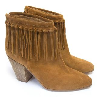 Cara tan fringed boots with wooden heel