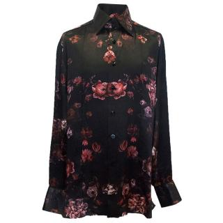 Angelo Galasso black silk shirt with floral print