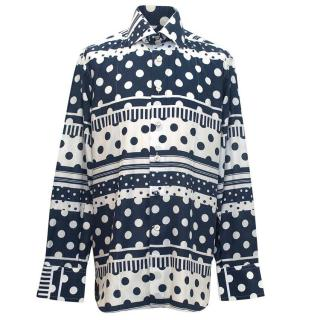 Angelo Galasso mens white and navy patterned shirt