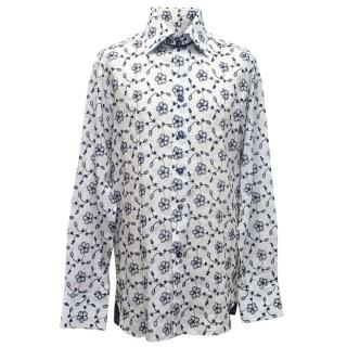 Angelo Galasso mens white linen shirt with navy flowers