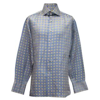 Angelo Galasso mens blue and yellow patterned silk shirt