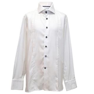 Angelo Galasso mens white shirt with black details