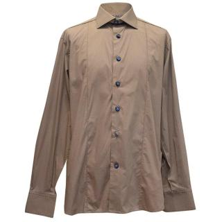 Angelo Galasso mens taupe cotton shirt