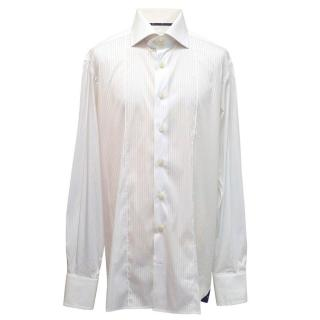 Angelo Galasso white button-down shirt with stripes