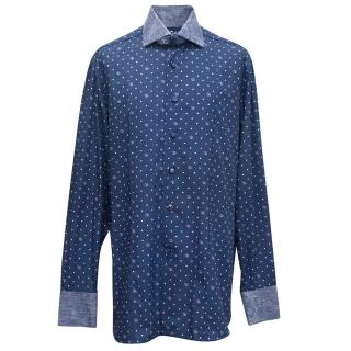 Angelo Galasso men's navy shirt with polka dots