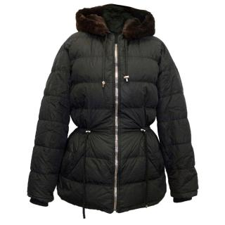 Prada black puffa jacket with beaver hood