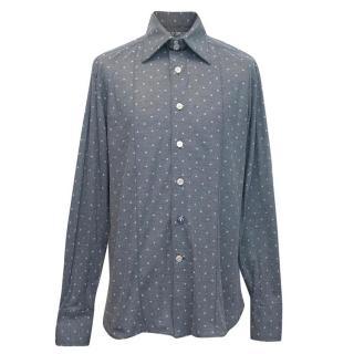 Angelo Galasso mens blue netted polka dot shirt