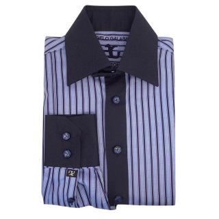 Angelo Galasso mens blue and navy striped shirt