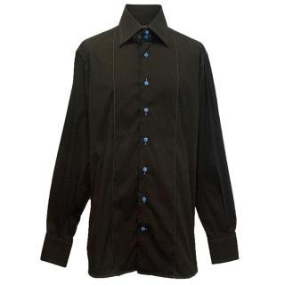 Angelo Galasso mens dark brown shirt with blue trim