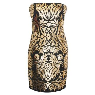 Moschino gold and black strapless dress