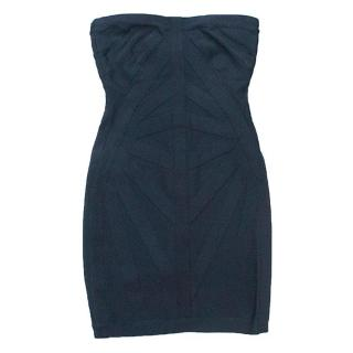 Herve Leger navy blue strapless dress
