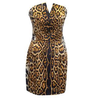 Yves Saint Laurent leopard print strapless
