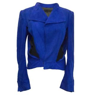 Haider Ackermann electric blue suede jacket