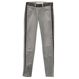 Etienne Marcel Grey skinny jeans with leather trim