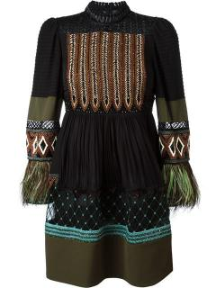 Valentino embroidered long sleeve mock neck dress